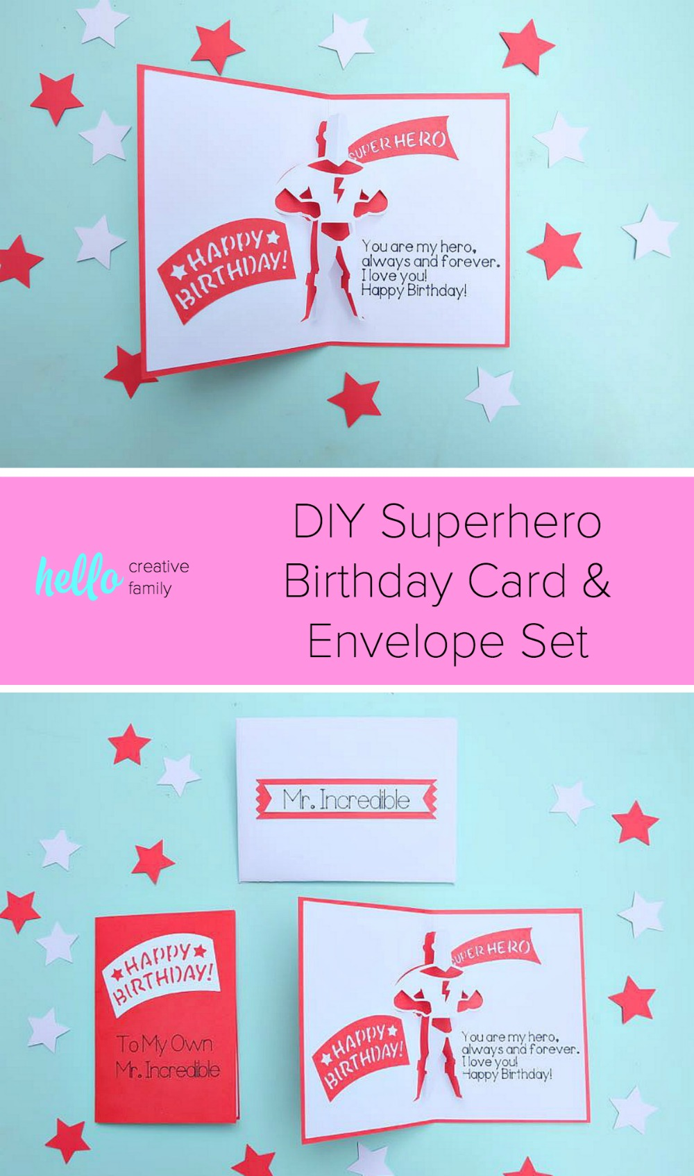 """Say """"Happy Birthday"""" to your favorite superhero with this DIY Superhero Birthday Card and Envelope Set. Made using your Cricut, this project is easy enough for those new to card making but packs a big impact. The perfect handmade element for a birthday gift for fans of Marvel, The Incredibles and DC Comics. #Cricut #CricutMade #Superhero #Birthday"""