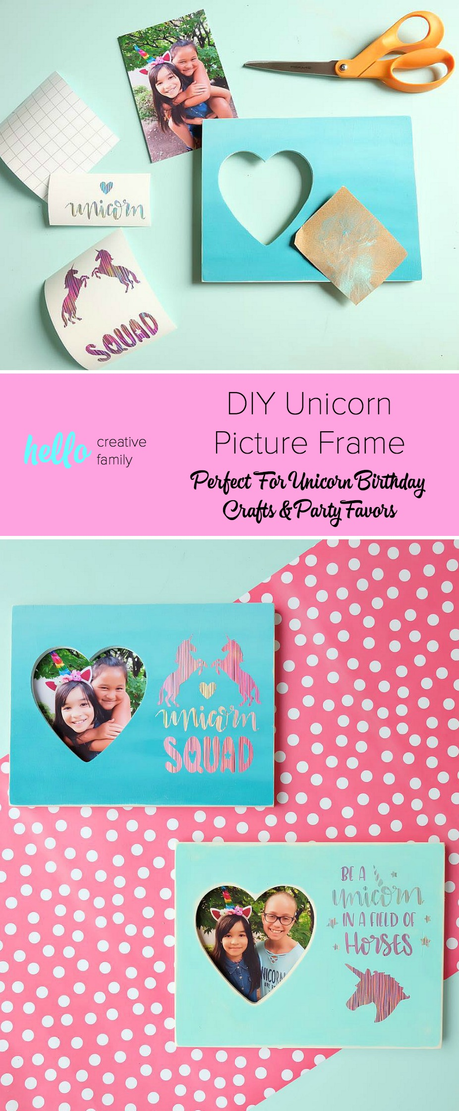 The perfect unicorn themed birthday party craft and party favor idea! These DIY Unicorn Picture Frames double as a birthday party craft and a party favor! Do a photo shoot with the birthday child with each of their friends to put inside. An easy and inexpensive idea! #BirthdayParty #cricut #Unicorns #DIY
