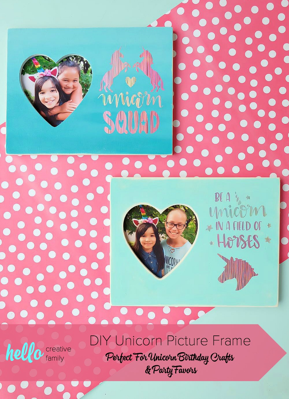 Throwing a unicorn themed birthday party? This DIY Unicorn Picture Frame double as a birthday party craft and a party favor idea! Do a photo shoot with the birthday child with each of their friends to put inside. An easy and inexpensive idea! #BirthdayParty #cricut #Unicorns #DIY