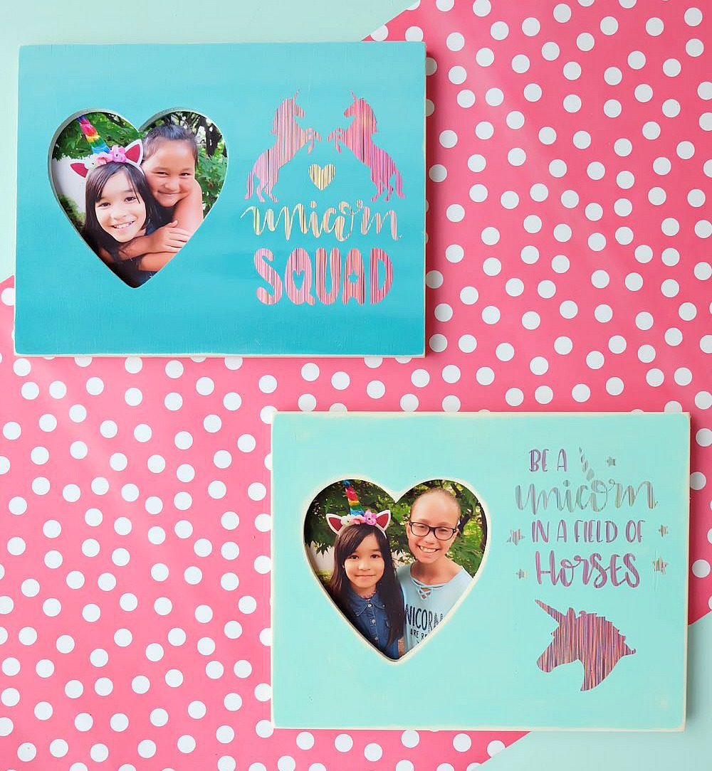 Throwing a unicorn themed birthday party? These DIY Unicorn Picture Frames double as a birthday party craft and a party favor idea! Do a photo shoot with the birthday child with each of their friends to put inside. An easy and inexpensive idea! #BirthdayParty #cricut #Unicorns #DIY