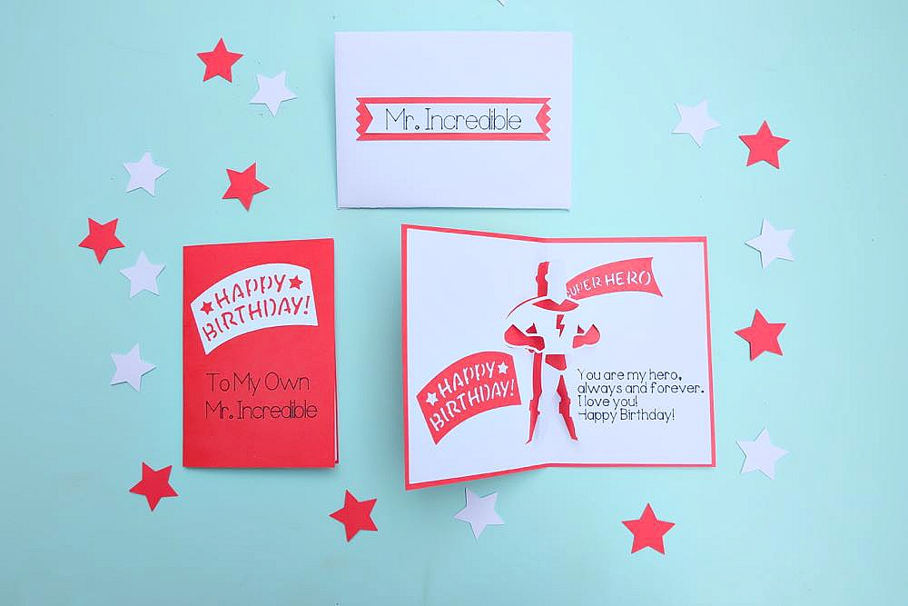Let your favorite superhero know how much you love them on their birthday with this DIY Superhero Birthday Card and Envelope Set. Made using your Cricut, this project is easy enough for those new to card making but packs a big impact. The perfect handmade element for a birthday gift. #Cricut #CricutMade #Superhero #Birthday