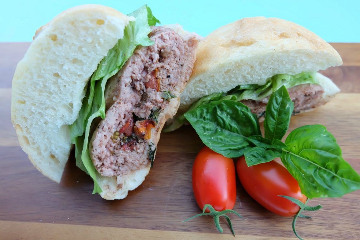 This Caprese Stuffed Turkey Burger Recipe is filled with all of the flavors of summer. Juicy, flavorful and a healthy burger too! You'll feel good about feeding this easy 30 minute meal to your family! #Turkey #Burger #StuffedBurger #Recipe #Sponsored
