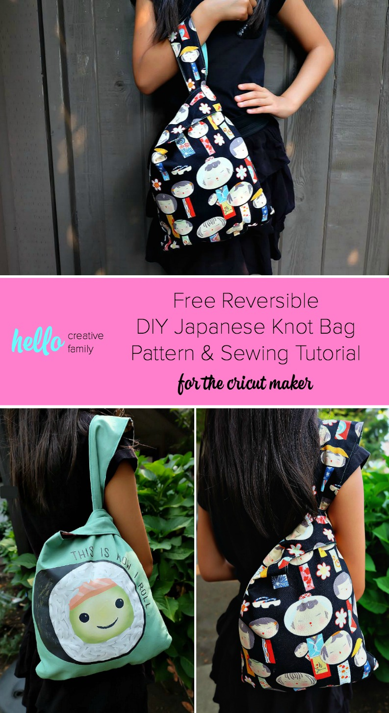 Use your Cricut Maker to make this adorable Reversible DIY Japanese Knot Bag with your Cricut Maker! Hello Creative Family shares the free cut file, pattern and step by step sewing tutorial for making this 30 minute sewing project. Makes a great handmade gift. Customize the size to make handmade book bags, lunch totes, purses, snack bags and more! A fun fashion accessory for adults or kids! #Sponsored #Cricut #CricutMaker #Sewing #HandmadeGift
