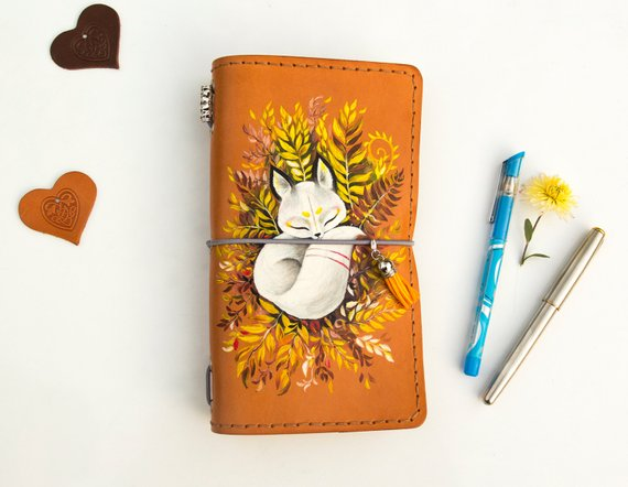 Handmade School Supplies & Accessories You'll Love: Hand Painted Little Fox Notebook from Sanati Factory