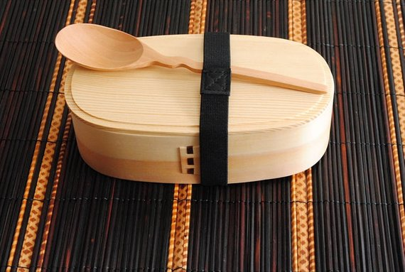 Handmade School Supplies & Accessories You'll Love: Japanese Bento Box with Fork and Spoon from Japanese Kitchen