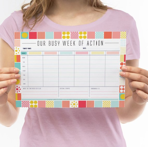 Handmade School Supplies & Accessories You'll Love: Our Busy Week Of Action Printable Calendar from Sam Osborne Store