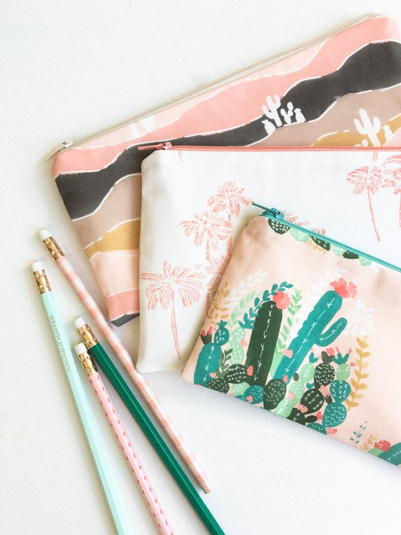 Palm Springs Pencil Pouches from Mama Bleu Designs