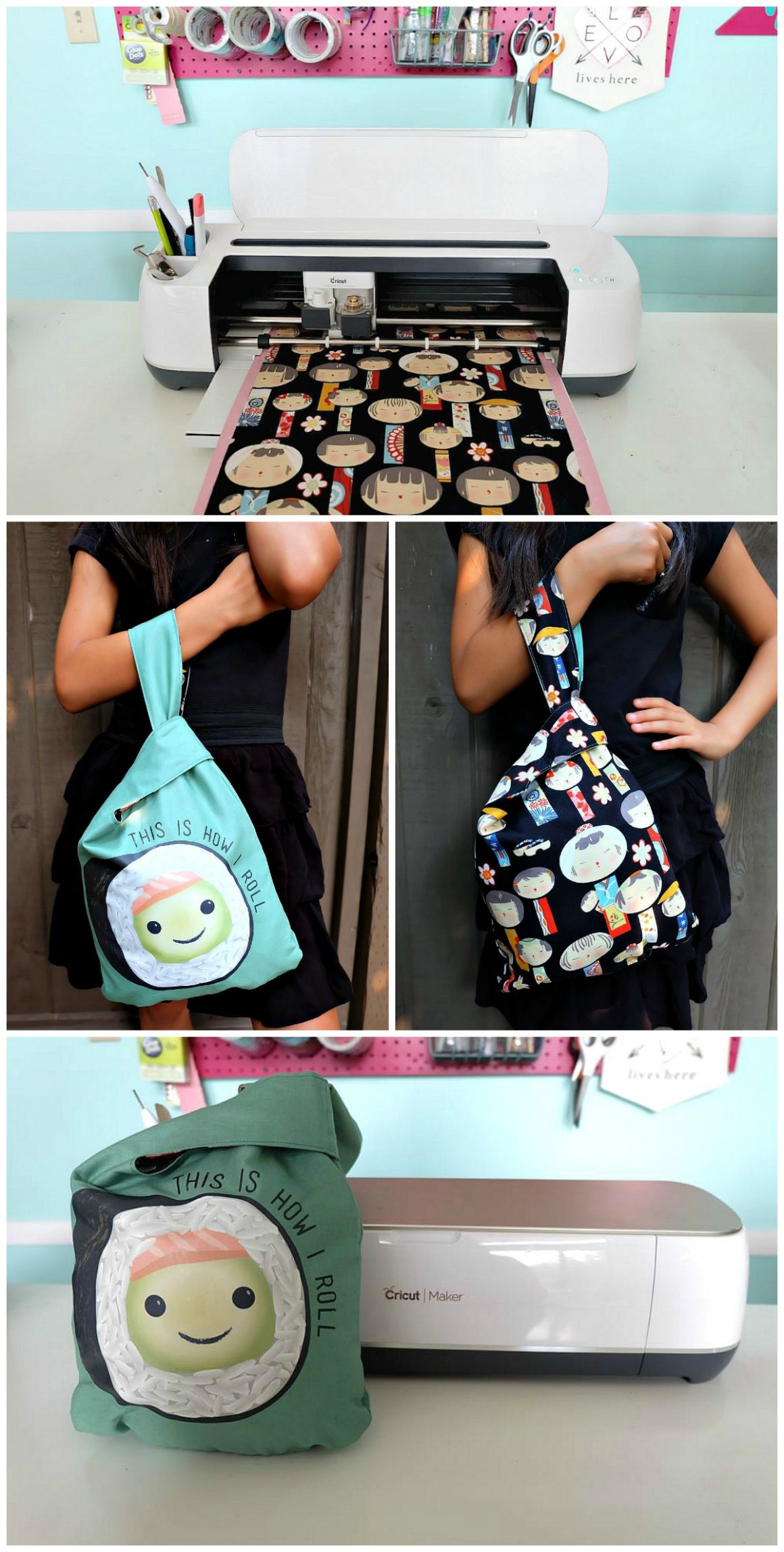 Create an adorable Reversible DIY Japanese Knot Bag with your Cricut Maker using this free cut file, pattern and step by step sewing tutorial from Hello Creative Family. This 30 minute project makes a great handmade gift. Customize the size to make handmade book bags, lunch totes, purses, snack bags and more! A fun fashion accessory for adults or kids! #Sponsored #Cricut #CricutMaker #Sewing #HandmadeGift