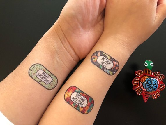 Handmade School Supplies & Accessories You'll Love: Positive Affirmation Temporary Tattoos from Snugamate