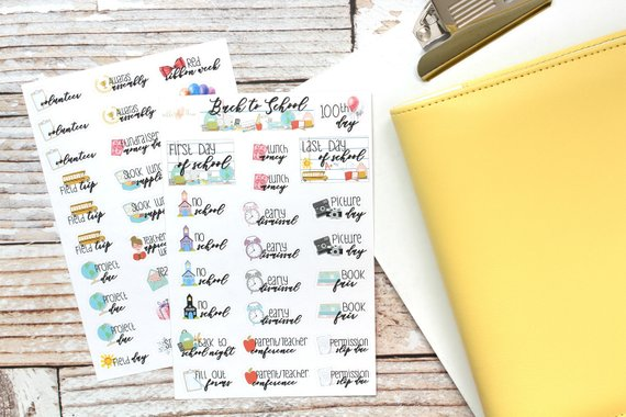 Handmade School Supplies & Accessories You'll Love: School Events Planner Stickers from Nikki Plus Three