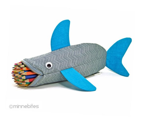 School Accessories You'll Love: Shark Pencil Pouch from minnebites