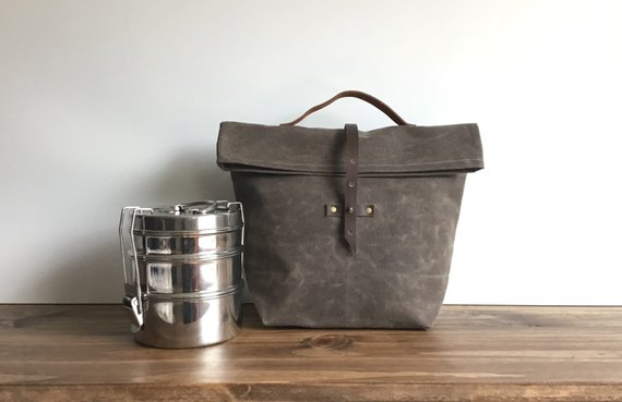 Handmade School Supplies & Accessories You'll Love: Waxed Canvas Lunch Bag with Buckle From Watershed Wax Co