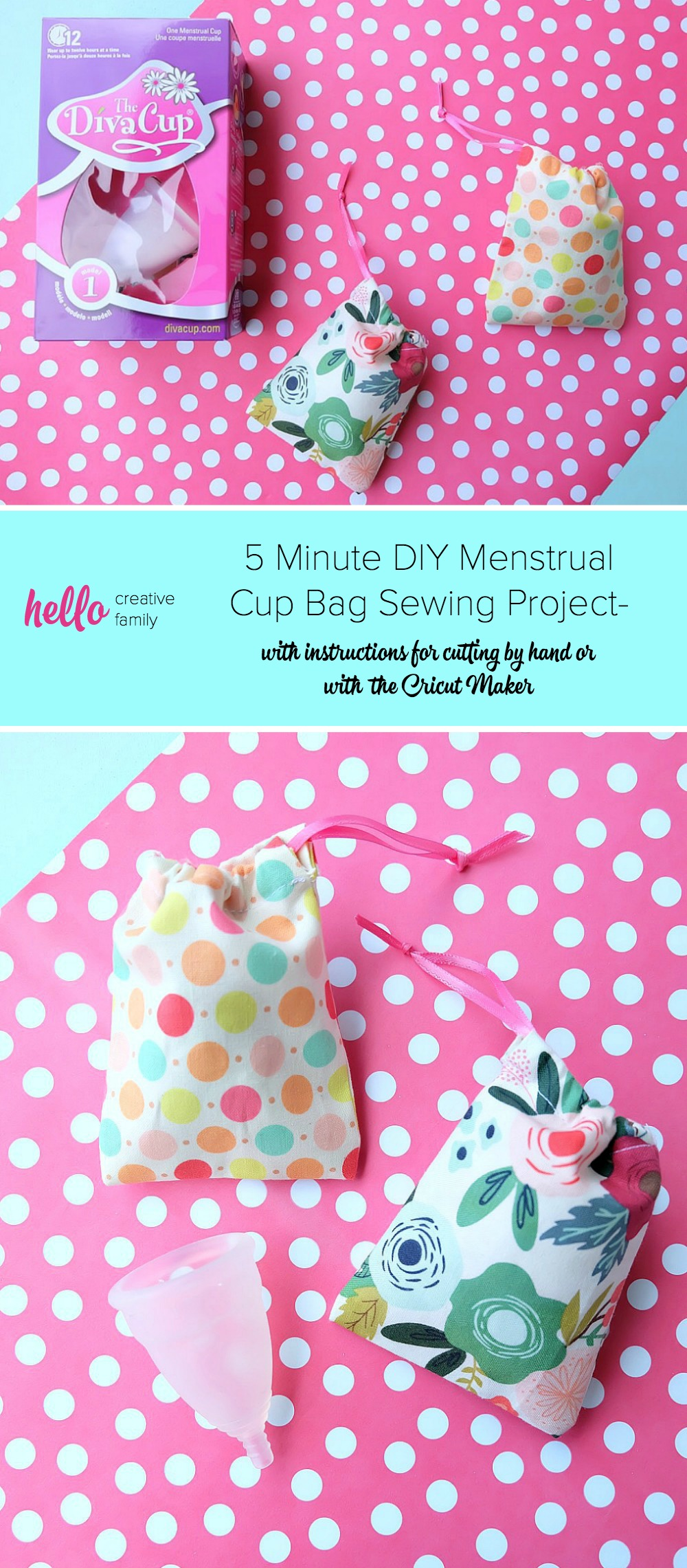 Make the cutest little DIY drawstring bag out of fabric scraps that's perfect for a Diva Cup, other menstrual cup, jewelry, or as a gift card bag! This 5 minute menstrual cup bag sewing project is quick and easy to make with step by step photos and instructions! Cut it by hand or with the Cricut Maker. Once you know how to make them change the size for fabric gift bags, gift card bags, jewelry bags and more! #Sewing #5minutesewingproject #Cricut #CricutMaker