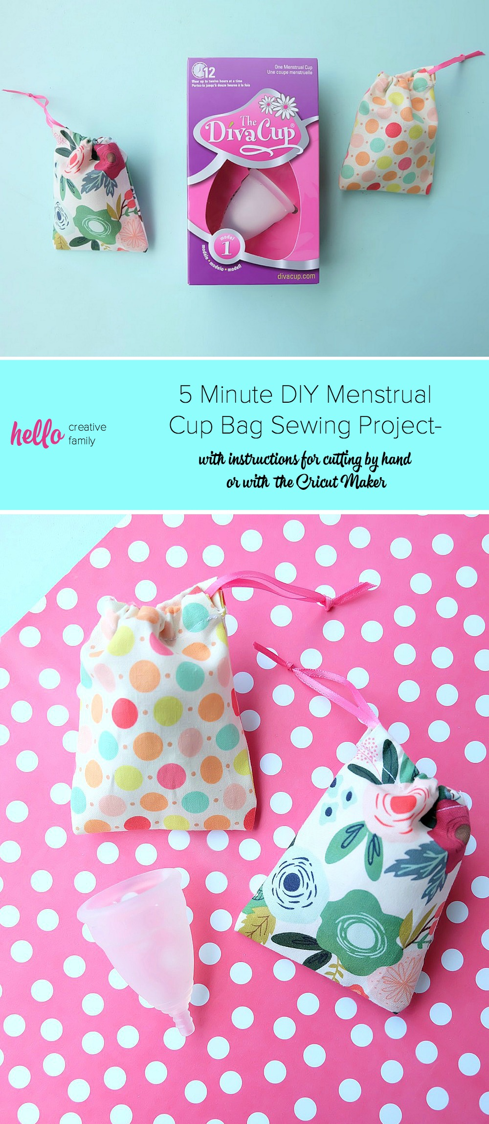 Make your period fun with our the cutest little period accessory! We have a 5 minute menstrual cup bag sewing project that makes the cutest little drawstring bag for your Diva Cup or other menstrual cup. The perfect fabric scrap project! It's quick and easy to make! Cut it by hand or with the Cricut Maker. Once you know how to make them change the sizes for fabric gift bags, gift card bags, jewelry bags and more! #Sewing #5minutesewingproject #Cricut #CricutMaker