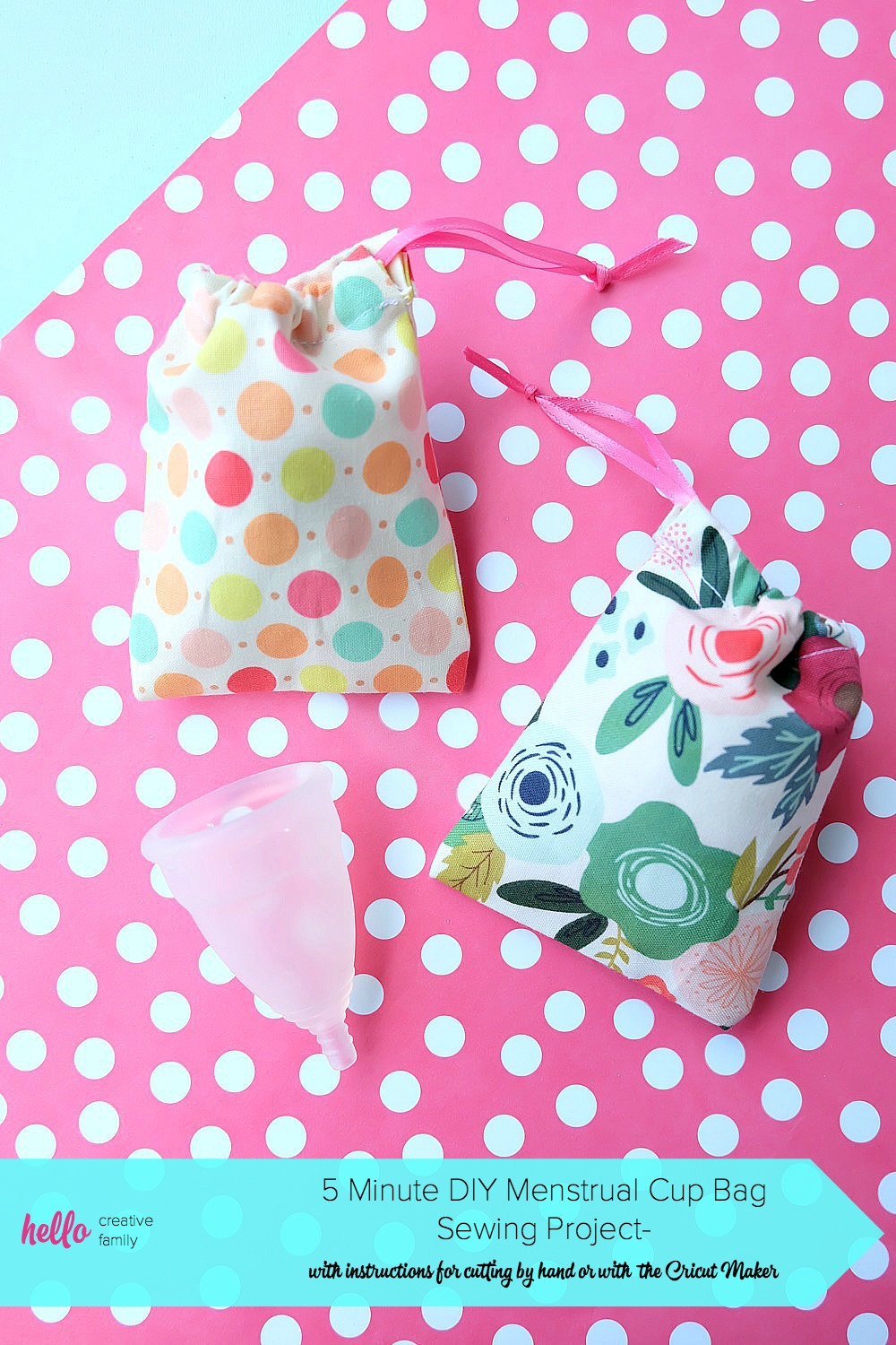 Lost the bag for your Diva Cup or other menstrual cup? Have no fear! We have a 5 minute menstrual cup bag sewing project that makes the cutest little drawstring bag. The perfect fabric scrap project! It's quick and easy to make! Cut it by hand or with the Cricut Maker. Once you know how to make them change the sizes for fabric gift bags, gift card bags, jewelry bags and more! #Sewing #5minutesewingproject #Cricut #CricutMaker