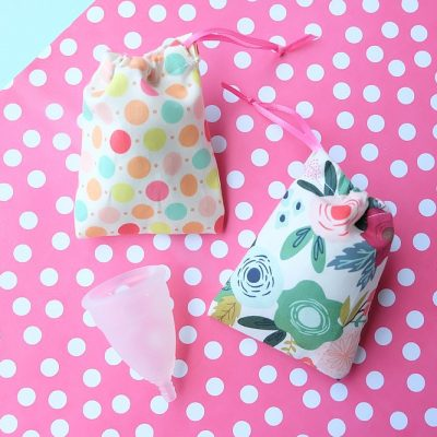 Make the cutest little DIY drawstring bag that's perfect for a Diva Cup, other menstrual cup, jewelry, or as a gift card bag! This 5 minute menstrual cup sewing project makes the cutest little drawstring bag. It's quick and easy to make with step by step photos and instructions! Cut it by hand or with the Cricut Maker. Once you know how to make them change the sizes for fabric gift bags, gift card bags, jewelry bags and more! #Sewing #5minutesewingproject #Cricut #CricutMaker