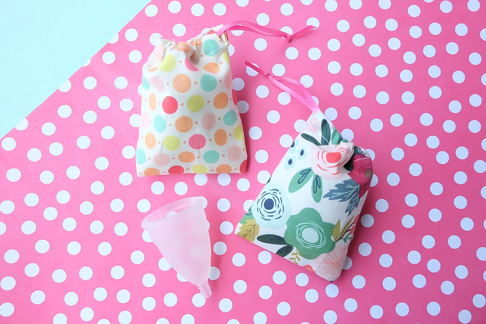 Lost the bag for your Diva Cup or other menstrual cup? Have no fear! We have a 5 minute menstrual cup sewing project that makes the cutest little drawstring bag. It's quick and easy to make! Cut it by hand or with the Cricut Maker. Once you know how to make them change the sizes for fabric gift bags, gift card bags, jewelry bags and more! #Sewing #5minutesewingproject #Cricut #CricutMaker