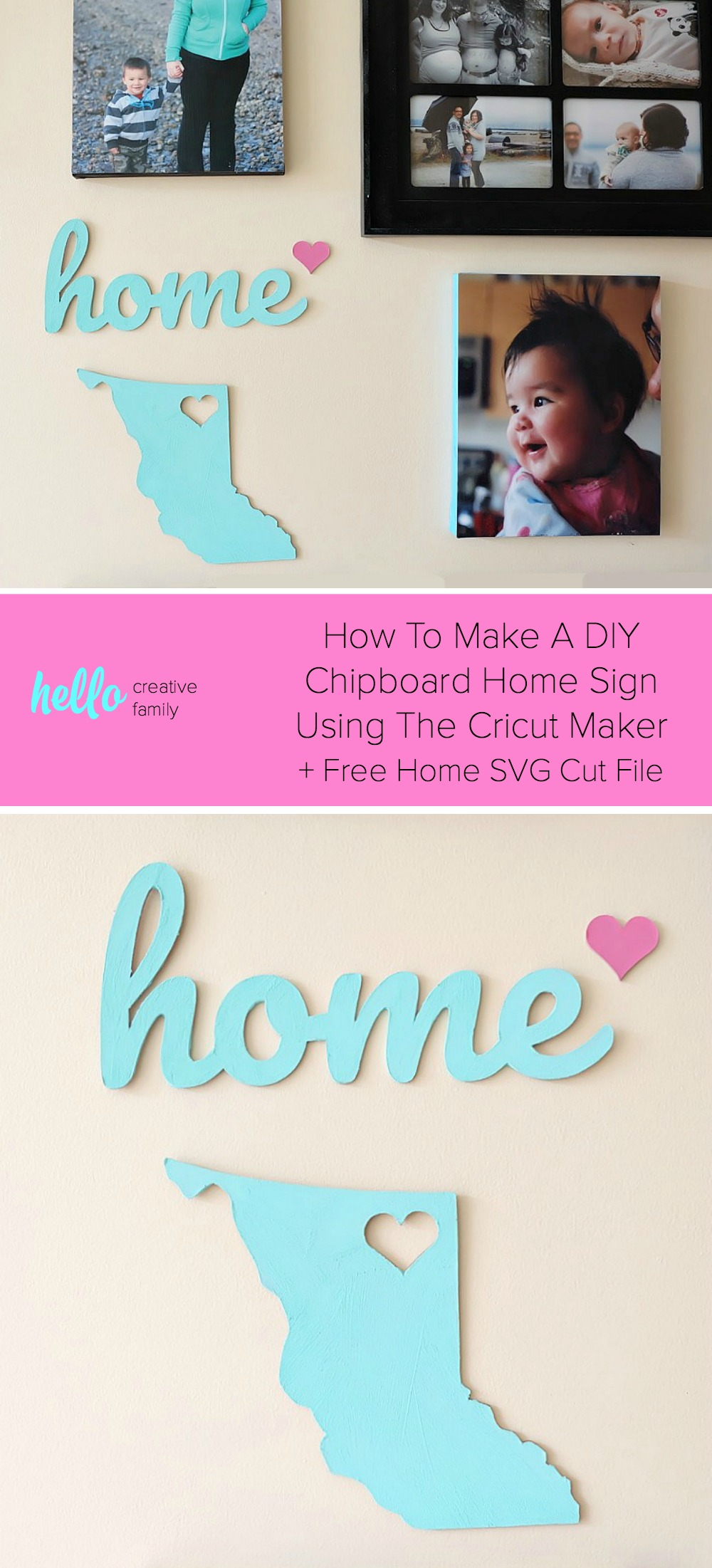 Have you used your Cricut Maker to cut chipboard yet? What are you waiting for? It's amazing and easy! Learn tips for cutting chipboard with the Cricut Maker, how to make a gorgeous DIY Chipboard Home sign for a handmade accent piece on your photo wall and grab our free Home SVG which you can cut with a Cricut or Silhouette. This would also make the cutest handmade housewarming gift! #SVG #FreeSVG #CricutMaker #DIY