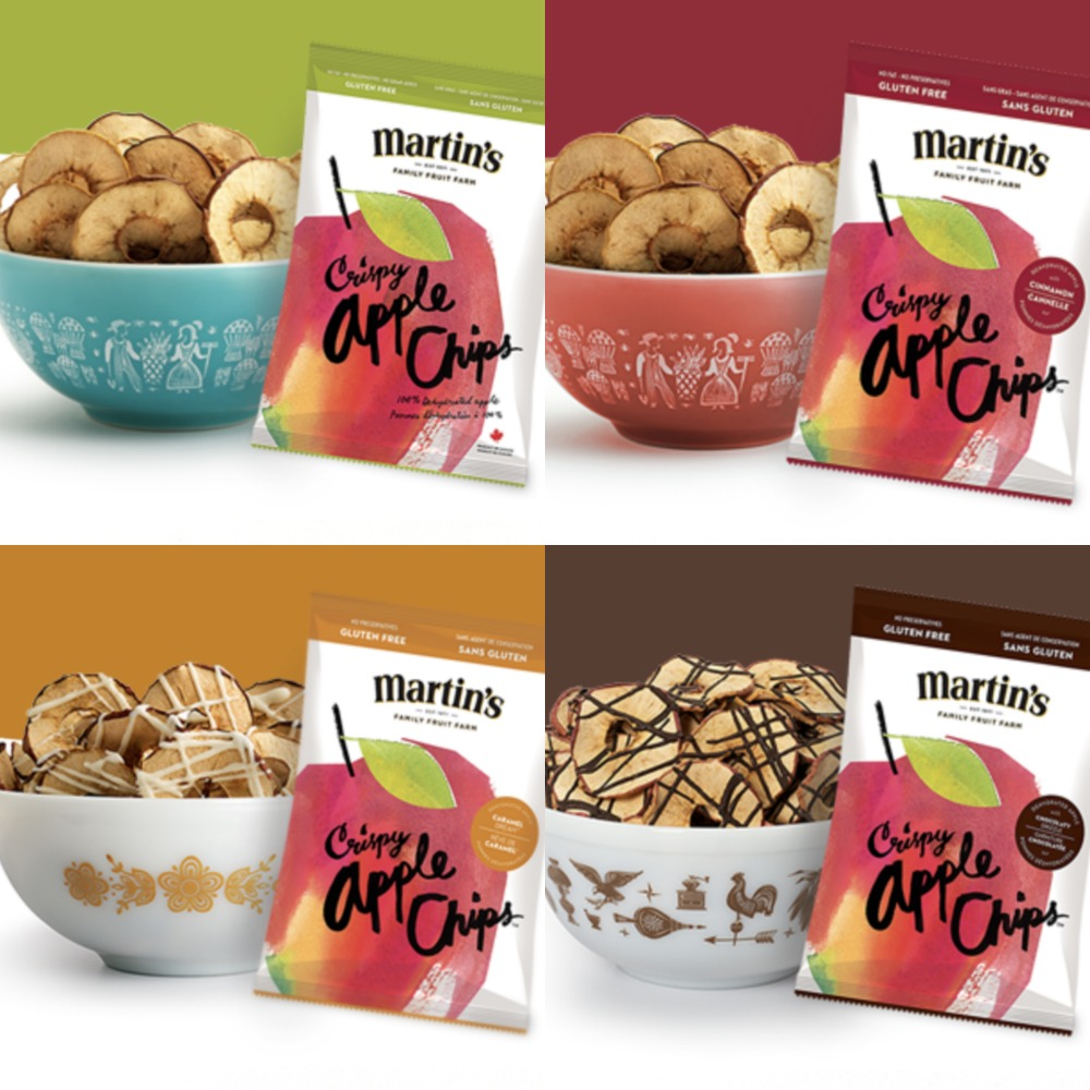4 varieties of Martins Apple Chips- Original, Cinnamon, Caramel Dream and Chocolate Drizzle