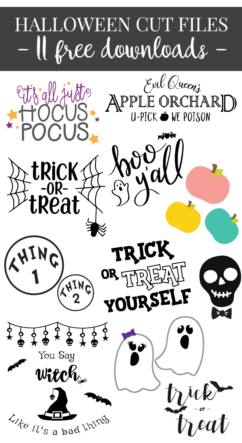 11 Free Halloween Themed SVG Files that you can use for crafting with your Cricut or Silhouette.