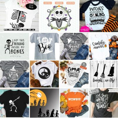 18 Awesome Halloween SVG Files To Cut With Your Cricut Or Silhouette! Pull out your cutting machine and celebrate Halloween in style! We are sharing 18 of our favorite Halloween SVG Files that are perfect for Easy DIY Halloween shirts! Make a last minute DIY Halloween costume with these fun files! #Halloween #Cricut #Silhouette #CricutProject #SVGFiles