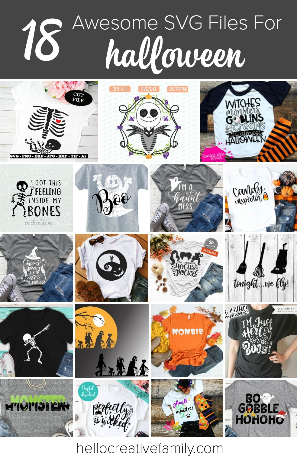 18 Awesome Halloween SVG Files To Cut With Your Cricut Or Silhouette! Pull out your cutting machine and celebrate Halloween in style! We are sharing 18 of our favorite Halloween SVG Files that are perfect for Easy DIY Halloween shirts! Make a last minute DIY Halloween costume with these fun files! #Halloween #Cricut #Silhouette #CricutProject #SVGFile