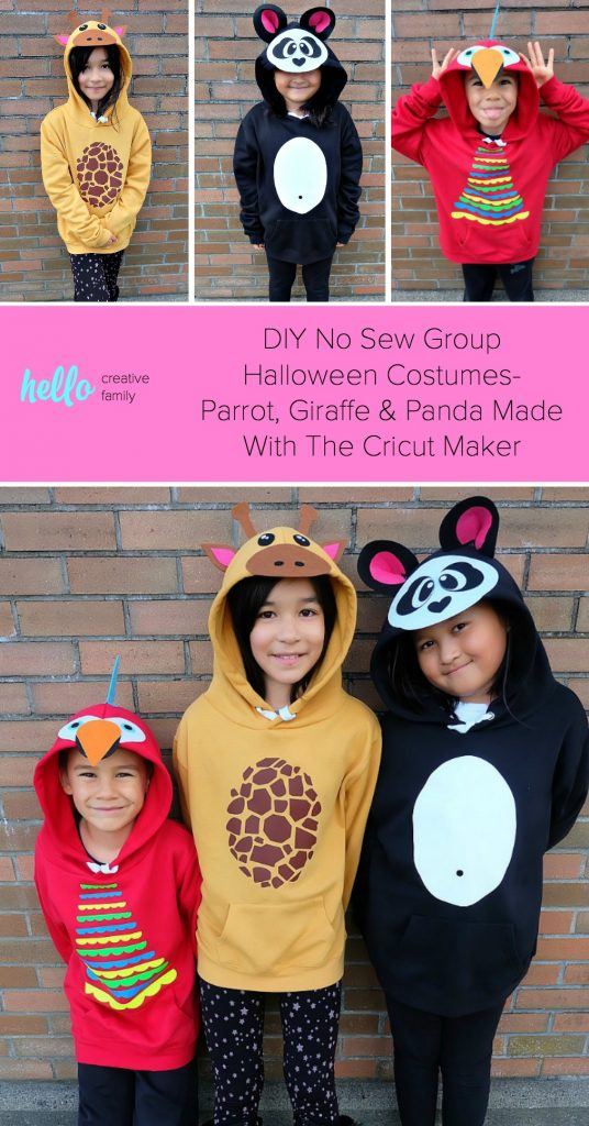 Looking for a fun idea for DIY No Sew Group Halloween Costumes? Look no further! We used HTV, felt a glue gun and our Cricut Maker to create these adorable zoo animal hoodies. We've got free cut files for a giraffe, parrot and panda! Make all three for a fun group halloween costume for kids or adults! A quick and easy Halloween Costume Idea that will take less than 30 minutes to make. #Halloween #DIY #GroupCostume #CricutMaker #Cricut #CricutMade #Sponsored