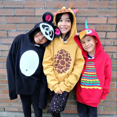 DIY No Sew Group Halloween Costumes- Parrot, Giraffe and Panda Made With The Cricut Maker