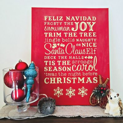 DIY Christmas Word Art Canvas Sign With Cut File