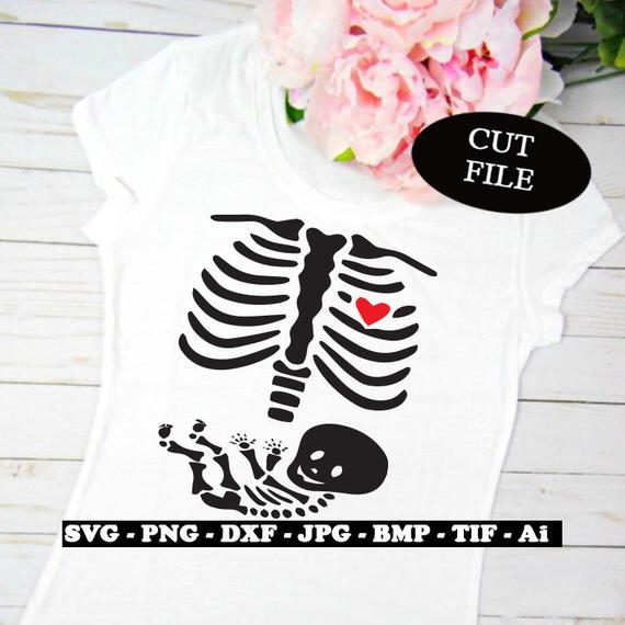 Awesome Halloween SVG File Ideas: Pregnant Skeleton SVG File from Cuttin N Craftin