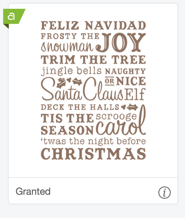 Christmas word art cut file from Cricut Access