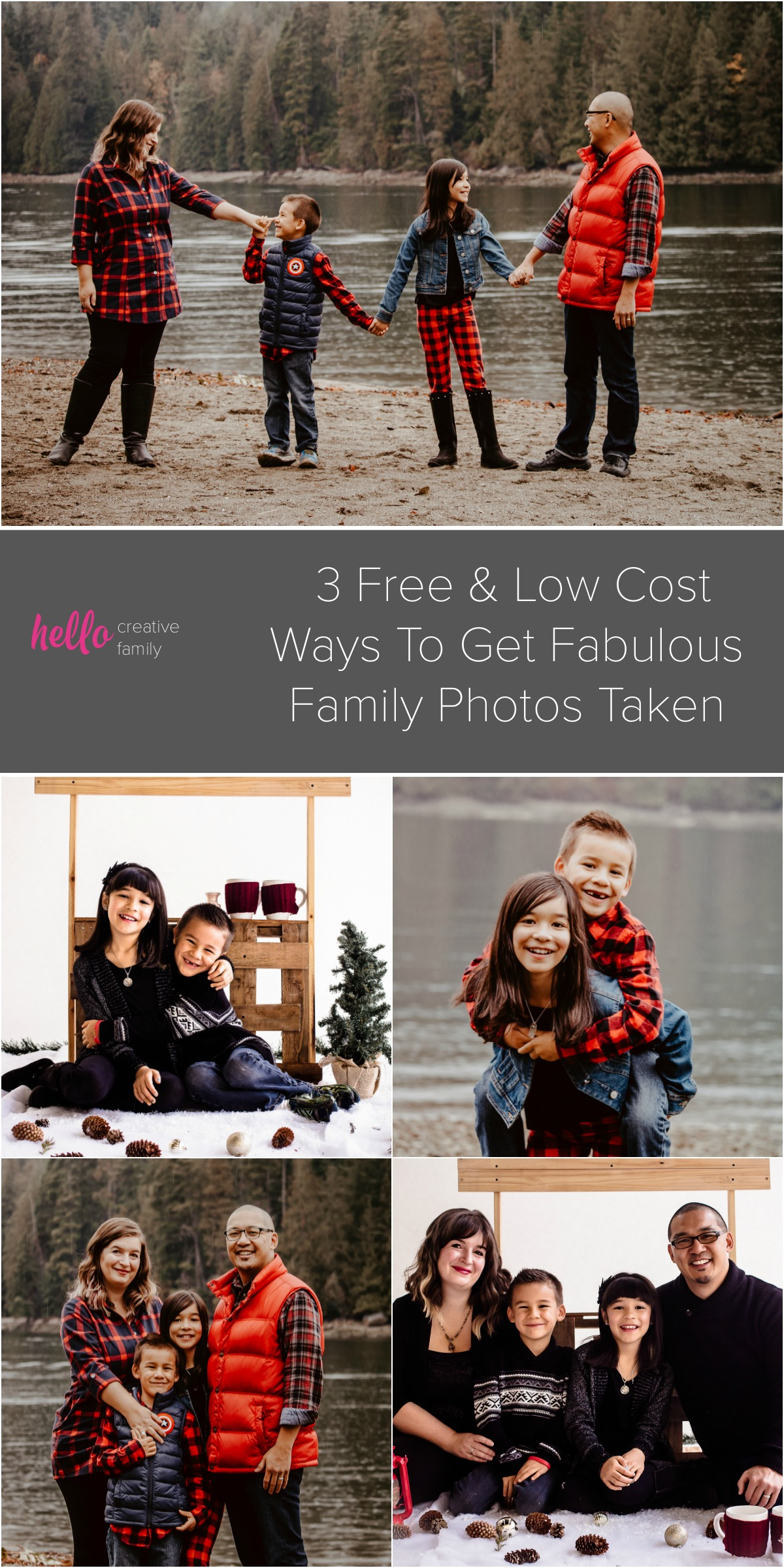 Drop the excuses! We want more moms to get in front of the camera! We're sharing 3 low cost or free ways to get fabulous family photos taken! Trust us! You'll love these family photo ideas! #photography #familyphotos #familyphotoideas