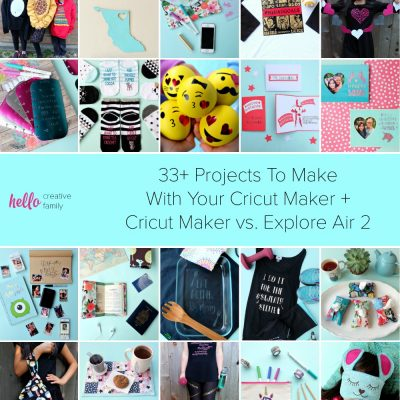 Still on the fence about if you should buy a Cricut? We're here sharing why we think every maker, diyer and crafter needs the Cricut Maker. We're also sharing 33 project ideas for the Cricut Maker and comparing the Cricut Maker vs the Explore Air 2. #Cricut #CricutMaker #CricutMade #CricutProjects