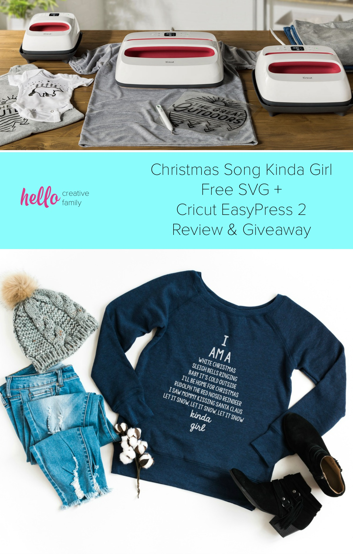 """We're sharing 16 Free Christmas SVG Files including our very own """"I am a Christmas Song Kinda Girl"""" cut file. Also check out our review for the Cricut Easy Press 2 which makes applying HTV for custom shirts and handmade gifts easy! #Cricut #FreeSVG #ChristmasSongs #ChristmasCutFiles #ChristmasSVG"""