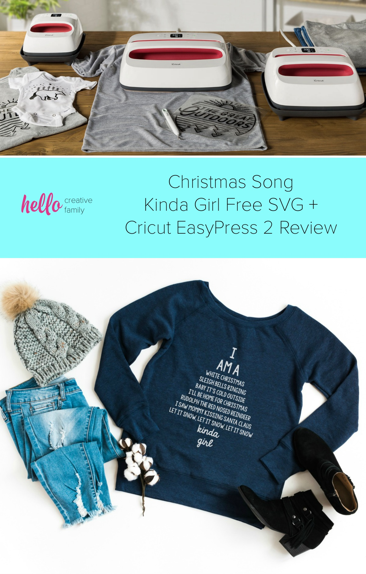 "We're sharing 16 Free Christmas SVG Files including our very own ""I am a Christmas Song Kinda Girl"" cut file. Also check out our review for the Cricut Easy Press 2 which makes applying HTV for custom shirts and handmade gifts easy! #Cricut #FreeSVG #ChristmasSongs #ChristmasCutFiles #ChristmasSVG"