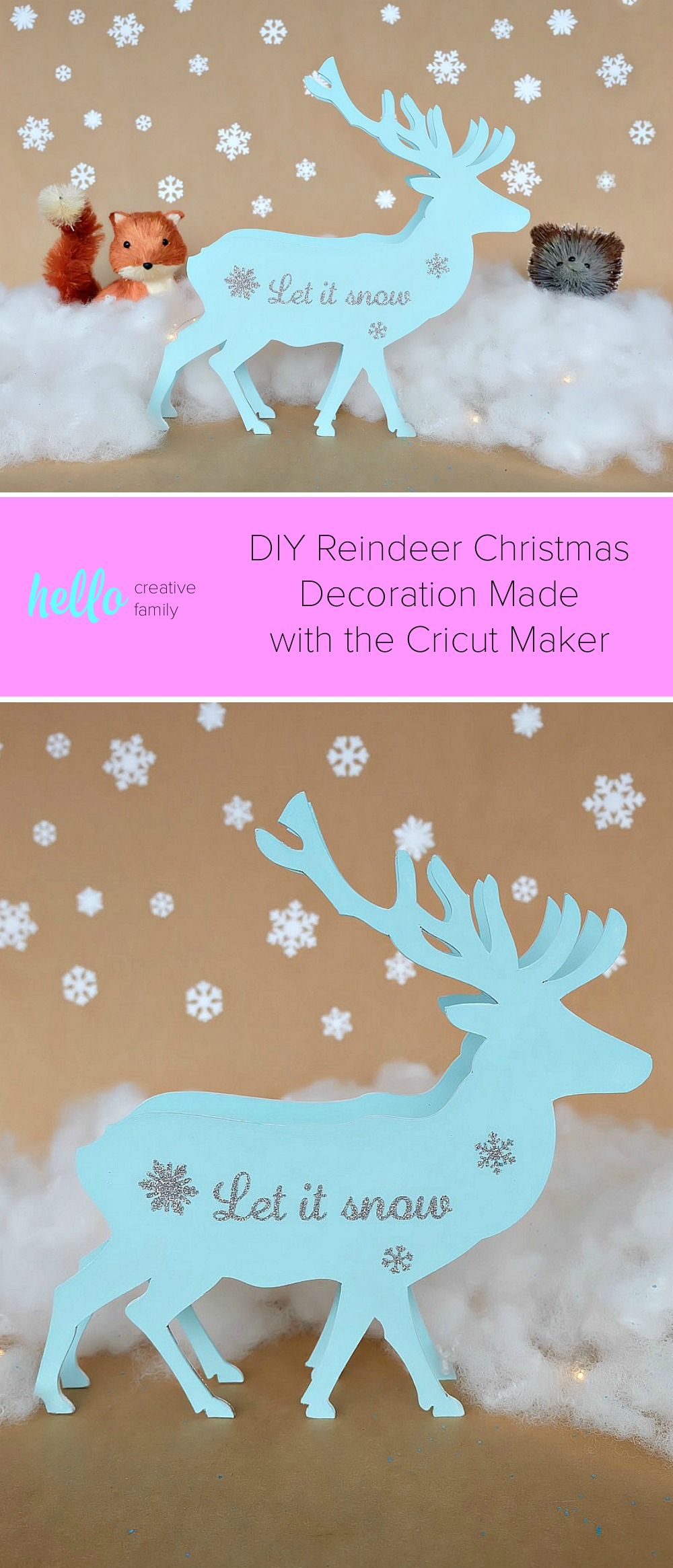 "This beautiful DIY reindeer Christmas Ornament is cut using the Cricut Maker! Decorated with ""Let It Snow"" it makes a beautiful handmade gift idea! This step by step tutorial with photos teaches you how to cut chipboard using your Cricut Maker to make beautiful home decor items. Make handmade reindeer decorations as teacher gifts, gifts for mom, or gifts for a friend. #HandmadeGift #CricutMaker #Christmas #Reindeer #sponsored"