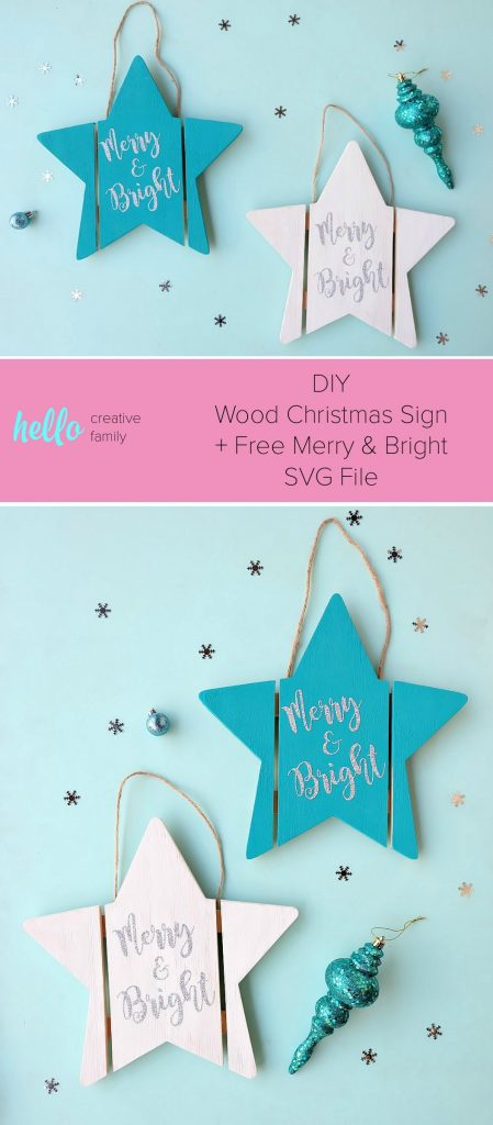 DIY Wood Christmas Sign = Free Merry And Bright SVG File