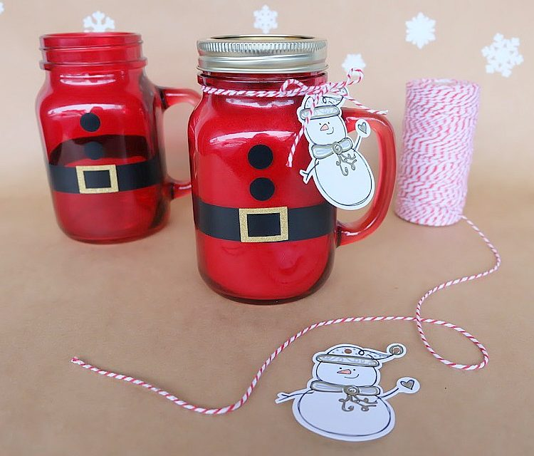 Easy DIY Santa Mason Jars Filled With Hot Chocolate- Handmade Christmas Gift Idea