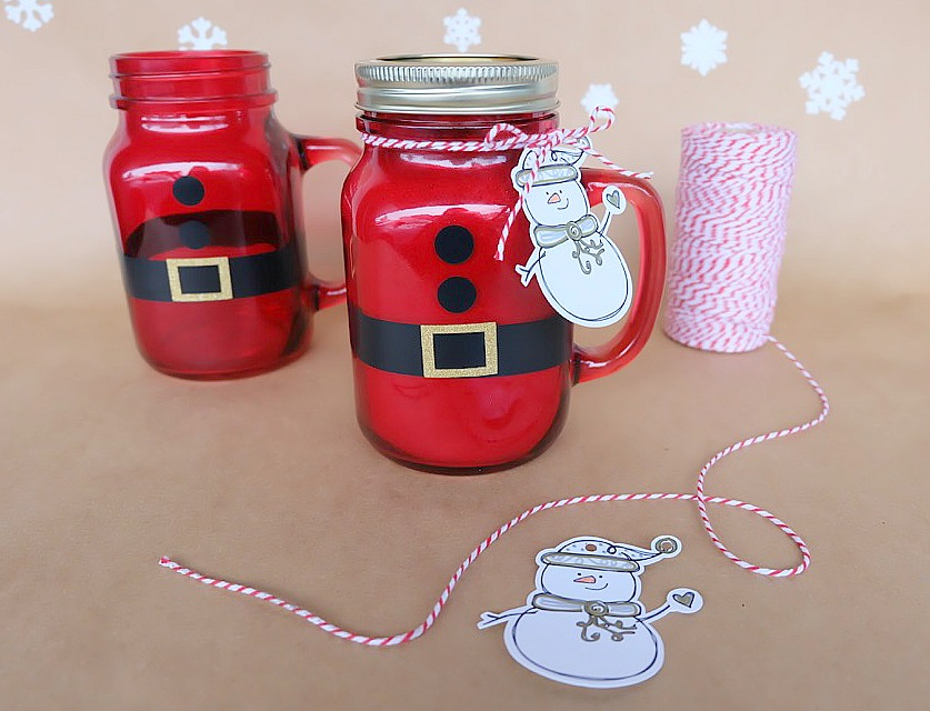 Easy Diy Santa Mason Jars Filled With Hot Chocolate Handmade Christmas Gift Idea Hello Creative Family