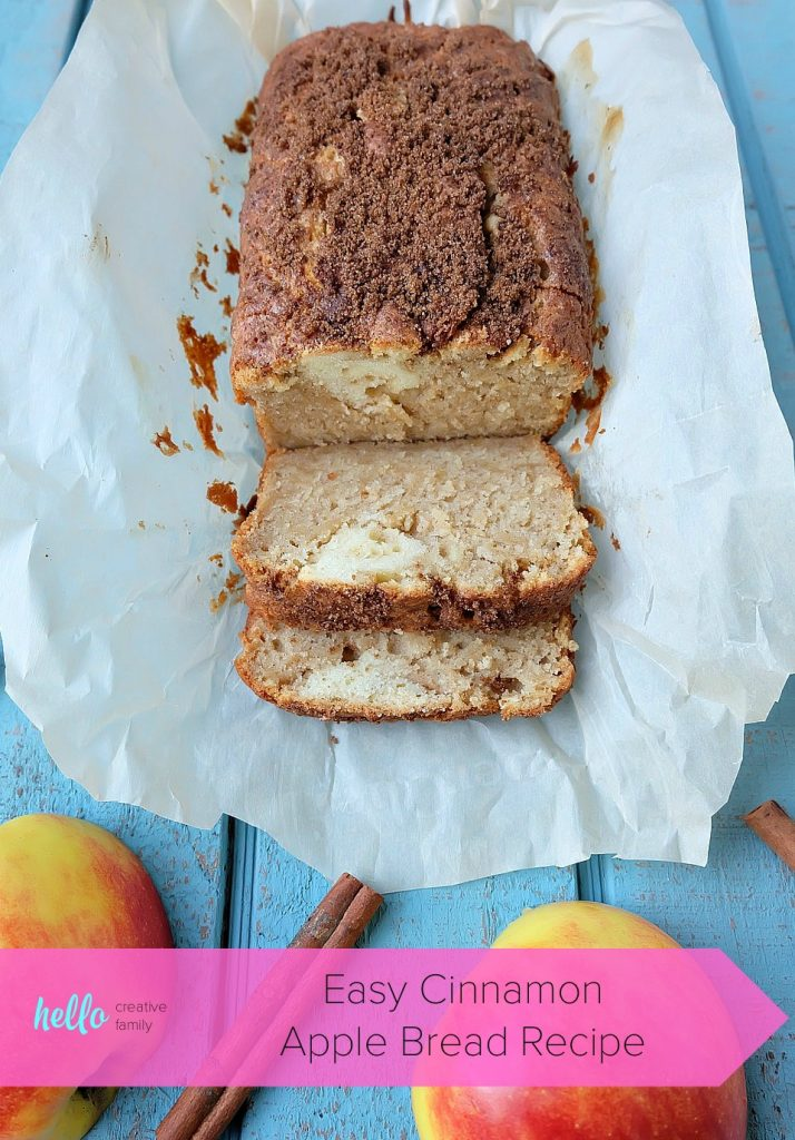 This easy cinnamon apple bread recipe is a family favorite that is perfect for breakfast or to serve for afternoon tea! Kid friendly, the apples melt right into the bread. Topped with a crunchy cinnamon and brown sugar topping. Easy to make with just 10 minutes of prep time, you're going to love baking this apple recipe! #Baking #Bread #Apples #Recipe