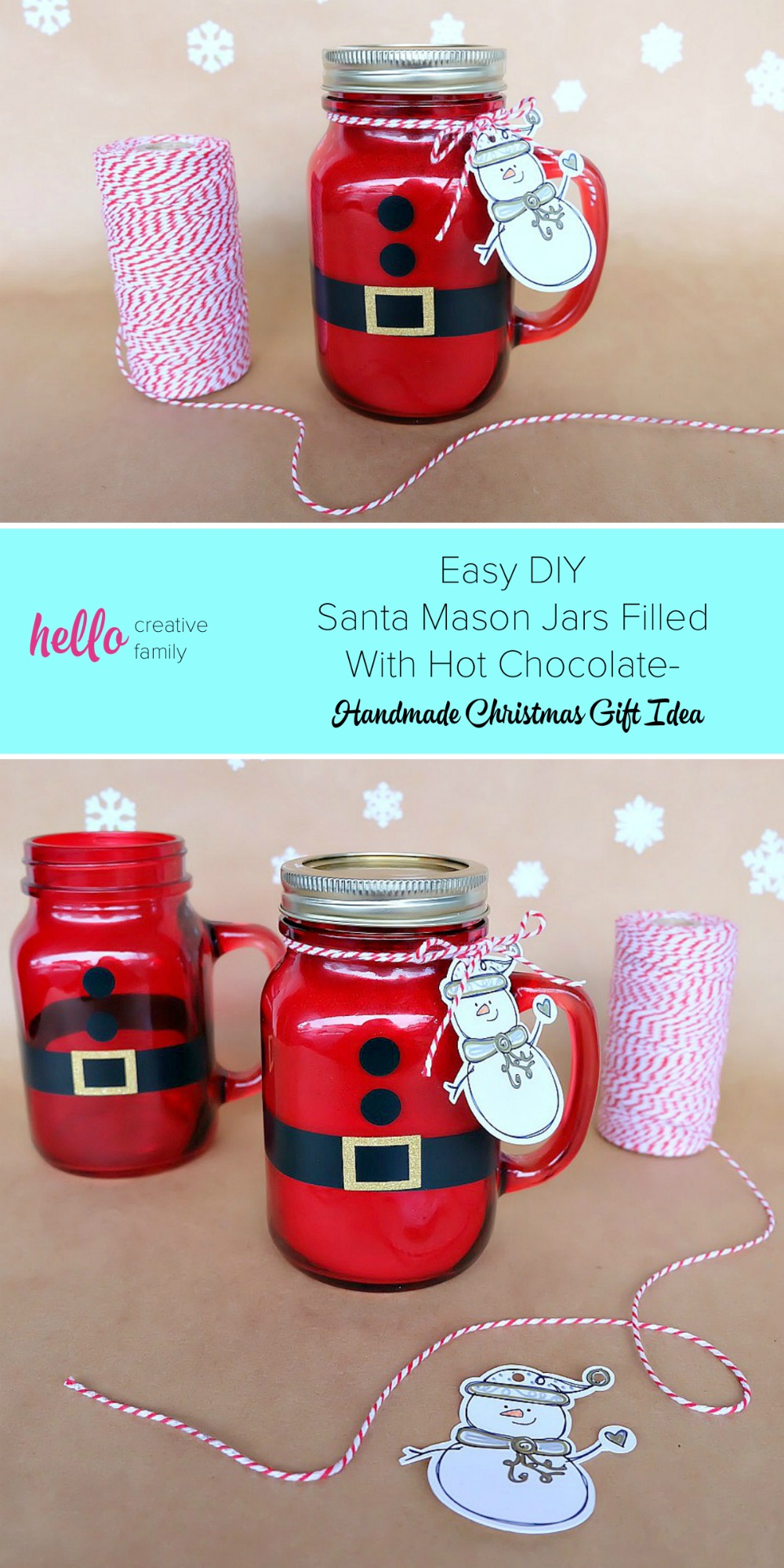 Easy DIY Santa Mason Jars Filled With Hot Chocolate- Handmade ...