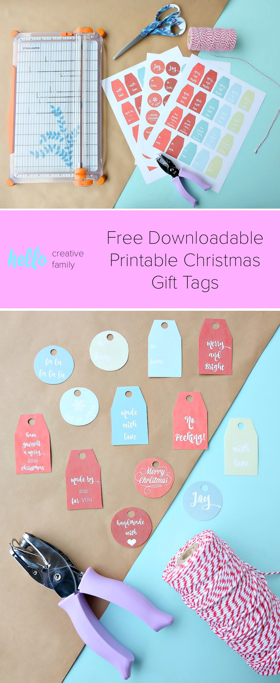 Make your Christmas gifts extra pretty with our vintage inspired, hand lettered free downloadable printable Christmas gift tags! You'll love all of the cute sayings, the pretty colors and how easy it is to add a handmade touch to your Christmas gifts! #Christmas #Printable #GiftTags #Free #Handlettered