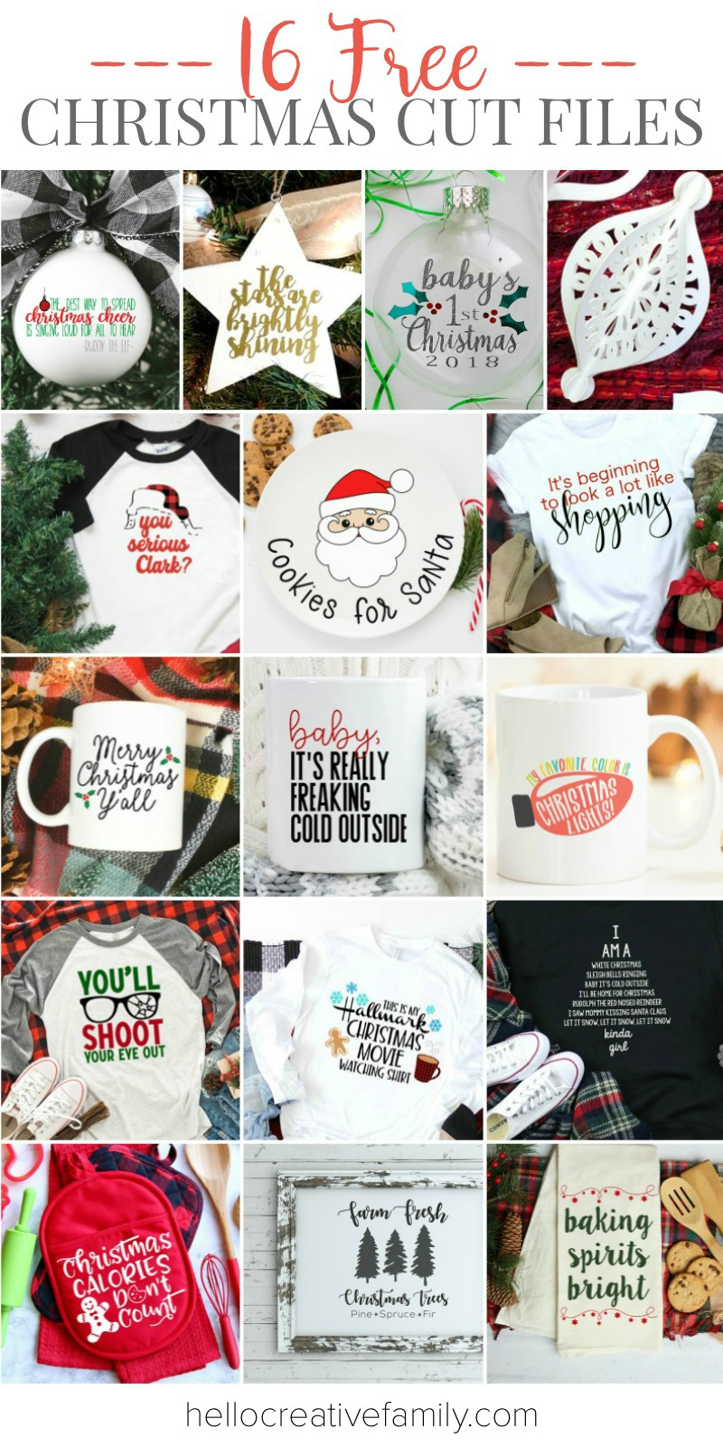 Pull out your Cricut or SIlhouette and celebrate Christmas in style! We are sharing 16 free Christmas SVG Files that are perfect for creating handmade gifts and clothing for the winter holidays! #Cricut #Silhouette #FreeSVG #Christmas #ChristmasSVG