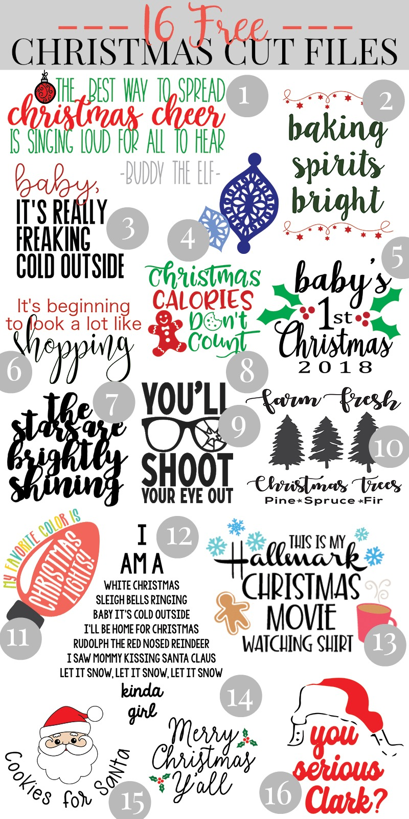 16 Free Christmas Cut Files- Pull out your Cricut or SIlhouette and get crafting! We are sharing 16 free Christmas SVG Files that are perfect for creating handmade gifts and clothing for the winter holidays! #Cricut #Silhouette #FreeSVG #Christmas #ChristmasSVG
