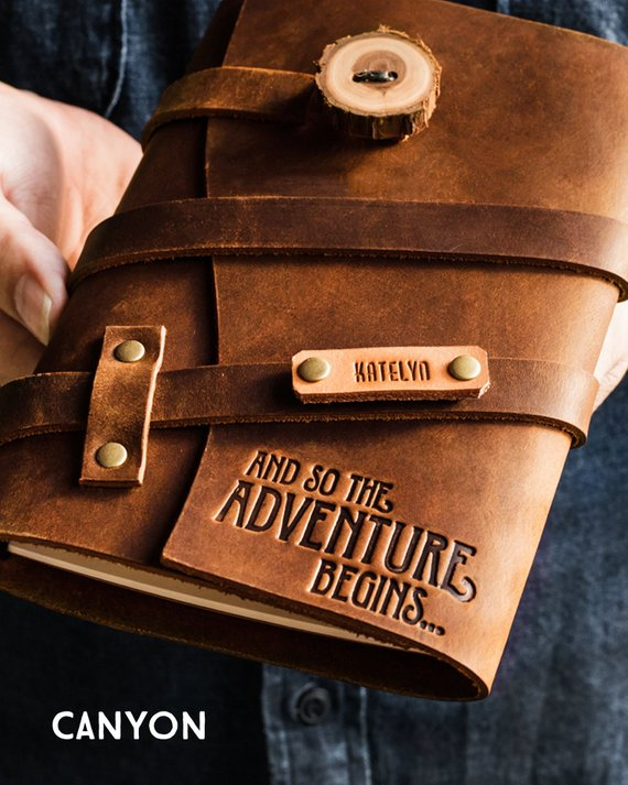 Shop Handmade Holiday Gift Guide: And So The Adventure Begins Personalized Leather Journal from Portland Leather Goods