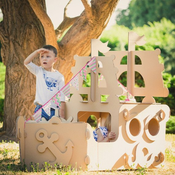 Shop Handmade Holiday Gift Guide:Cardboard Pirate Ship from Moms Manufacture Store