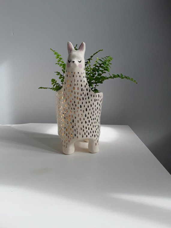 Shop Handmade Holiday Gift Guide: Ceramic Llama Planter from GailCCceramics