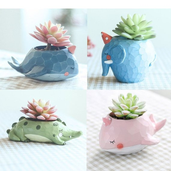 Shop Handmade Holiday Gift Guide: Cute Animals Resin Succulent Planters from Wonder Grow