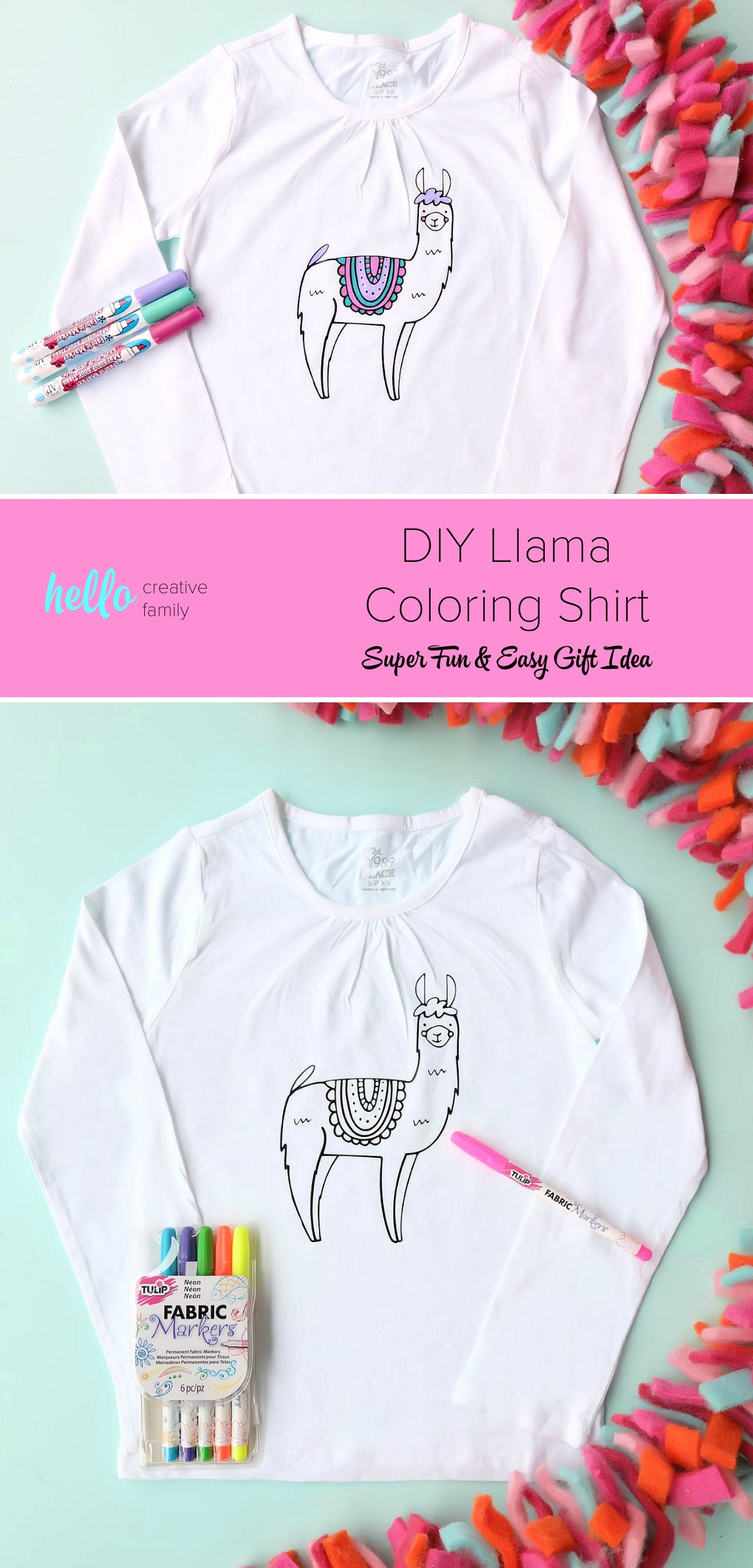 Diy Llama Coloring Shirt Super Fun And Easy Gift Idea Hello