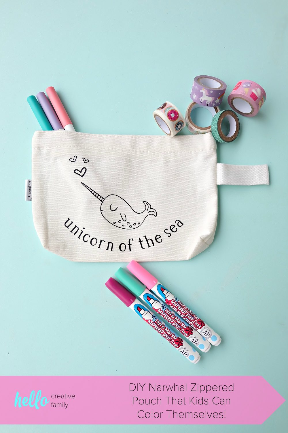 Create a sweet little DIY Narwhal Zippered Pouch that the recipient can color in! This thoughtful handmade gift idea takes only minutes to make and is a great present for kids (or adults!) It's a coloring sheet and a pencil pouch in one! #Cricut #Narwhal #DIY #Coloring